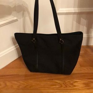 Talbots zipper tote with leather straps